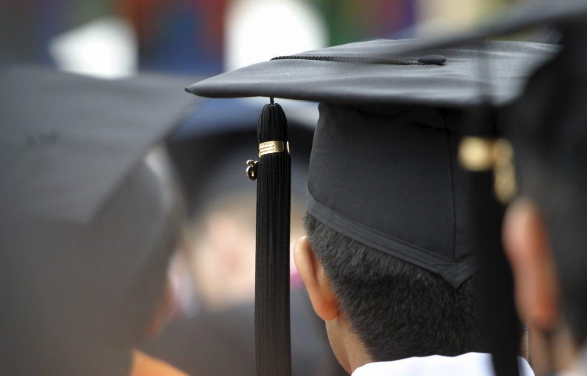 graduation cap, back of head