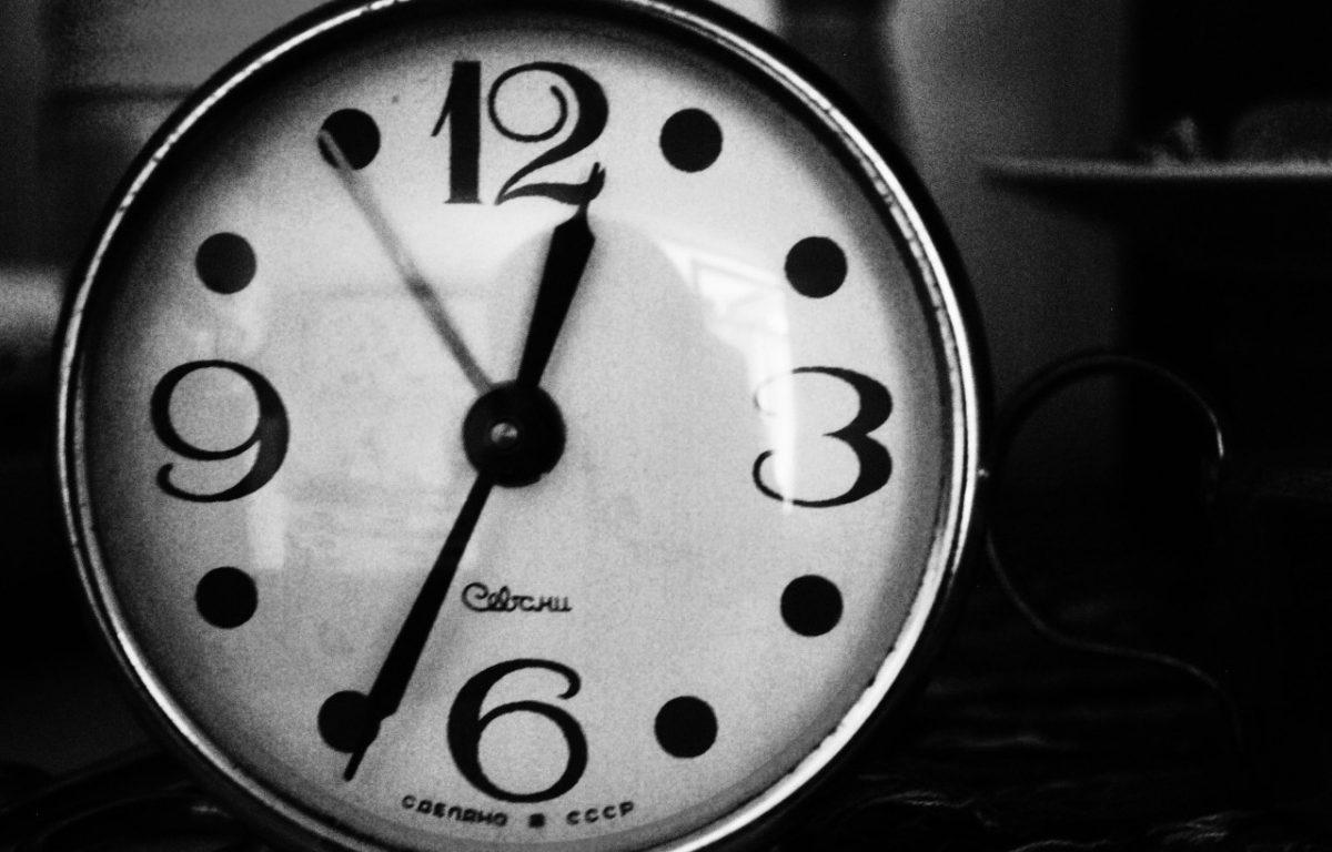 Black and white retro clock