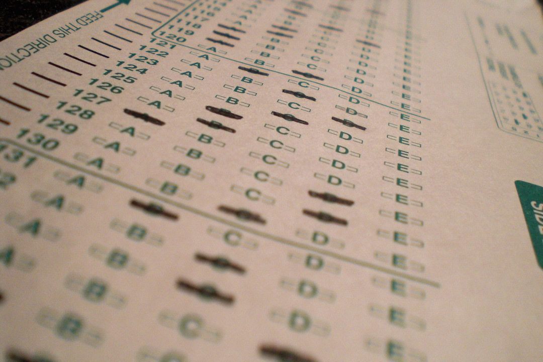 Standardized test sheet with pencil marks