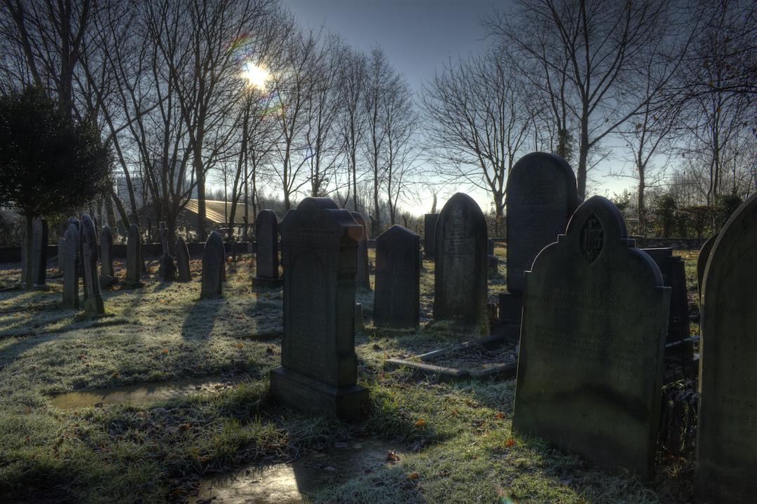 tombstones in the graveyard