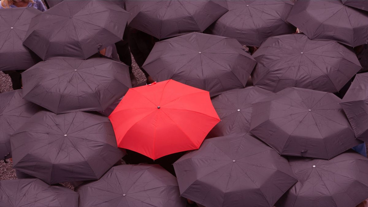 Red umbrella in sea of black umbrellas