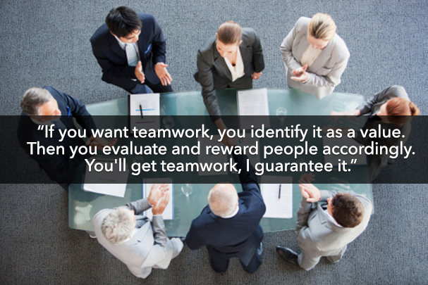 people around board table with quote about teamwork.
