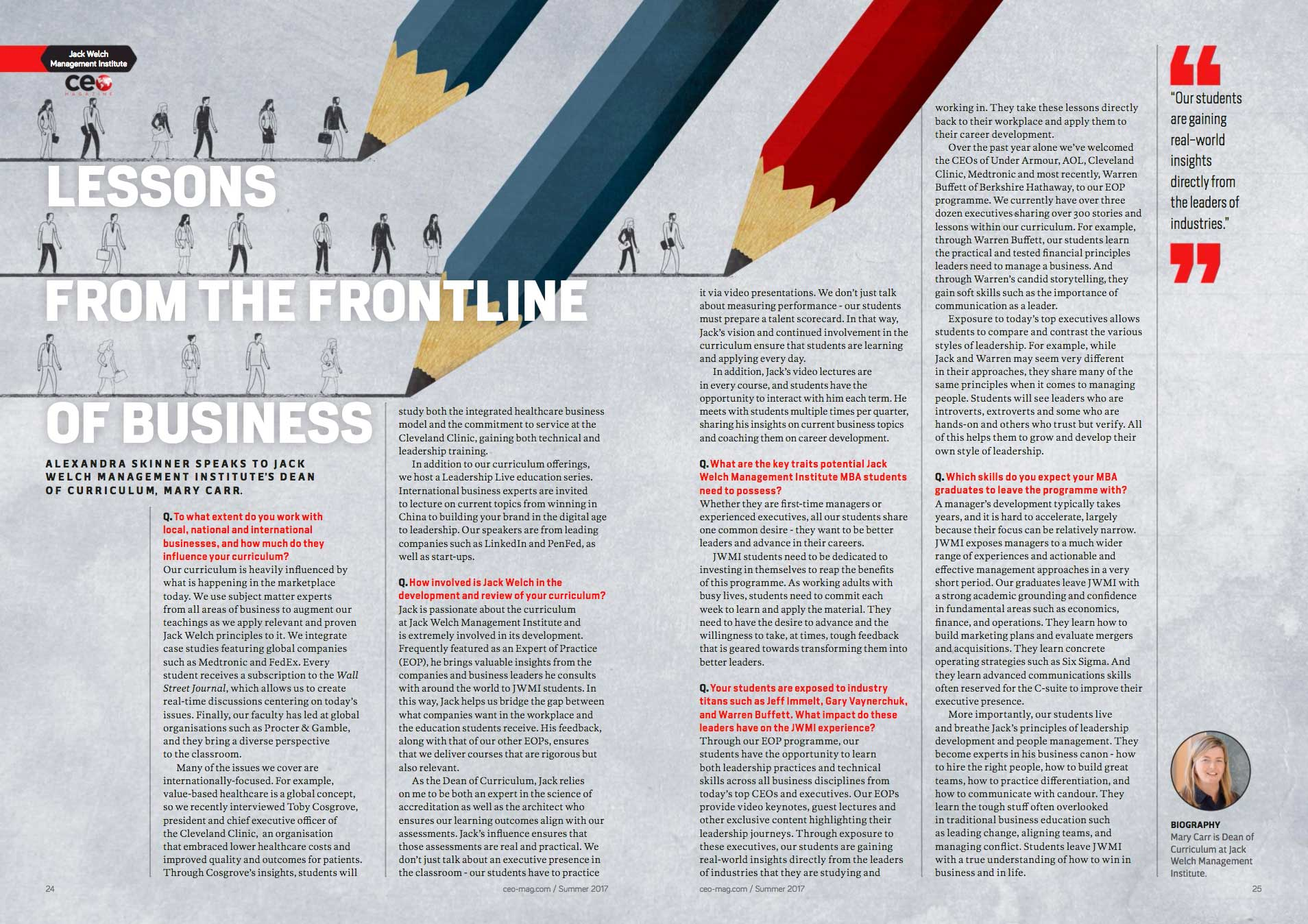 MBA Curriculum, CEO Magazine, JWMI curriculum