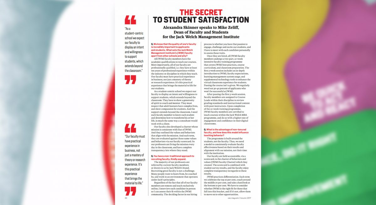 CEO Magazine, Student Satisfaction