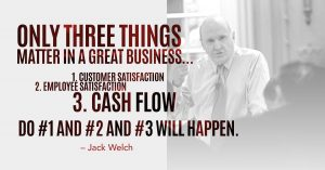 Jack Welch Quote: Only 3 Things Matter in a Great Business, Customer Satisfaction, Employee Satisfaction, Cash Flow