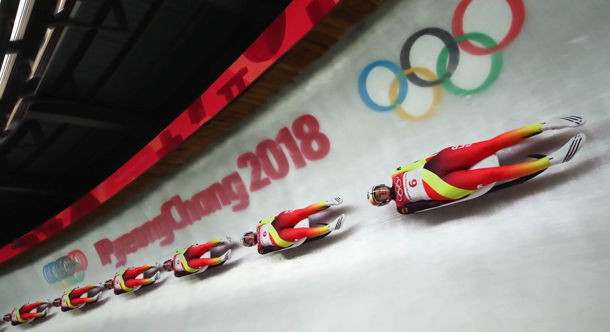 Olympic athletes on luge at PyeongChang 2018 Winter Olympics