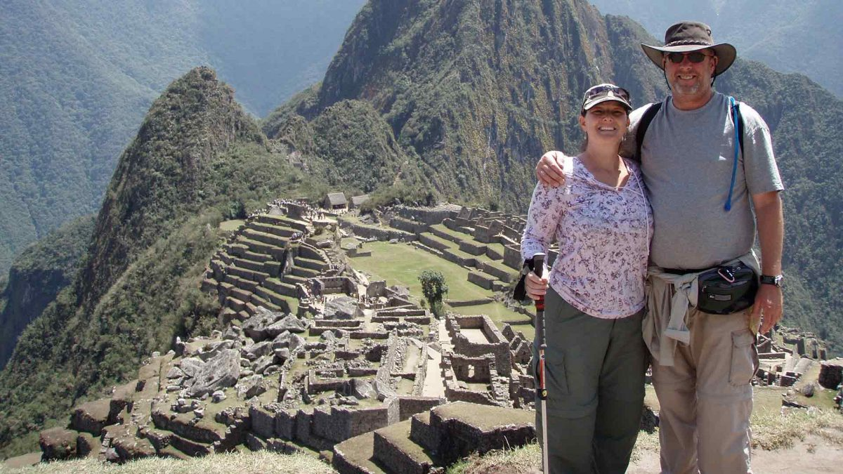 Deron Shields and wife, Eileen Musser at Macchu Picchu